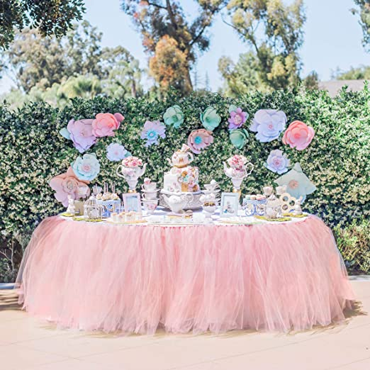 New Tutu Table Skirt Soft Tulle Cover Wedding Birthday Party Decor Pure Color