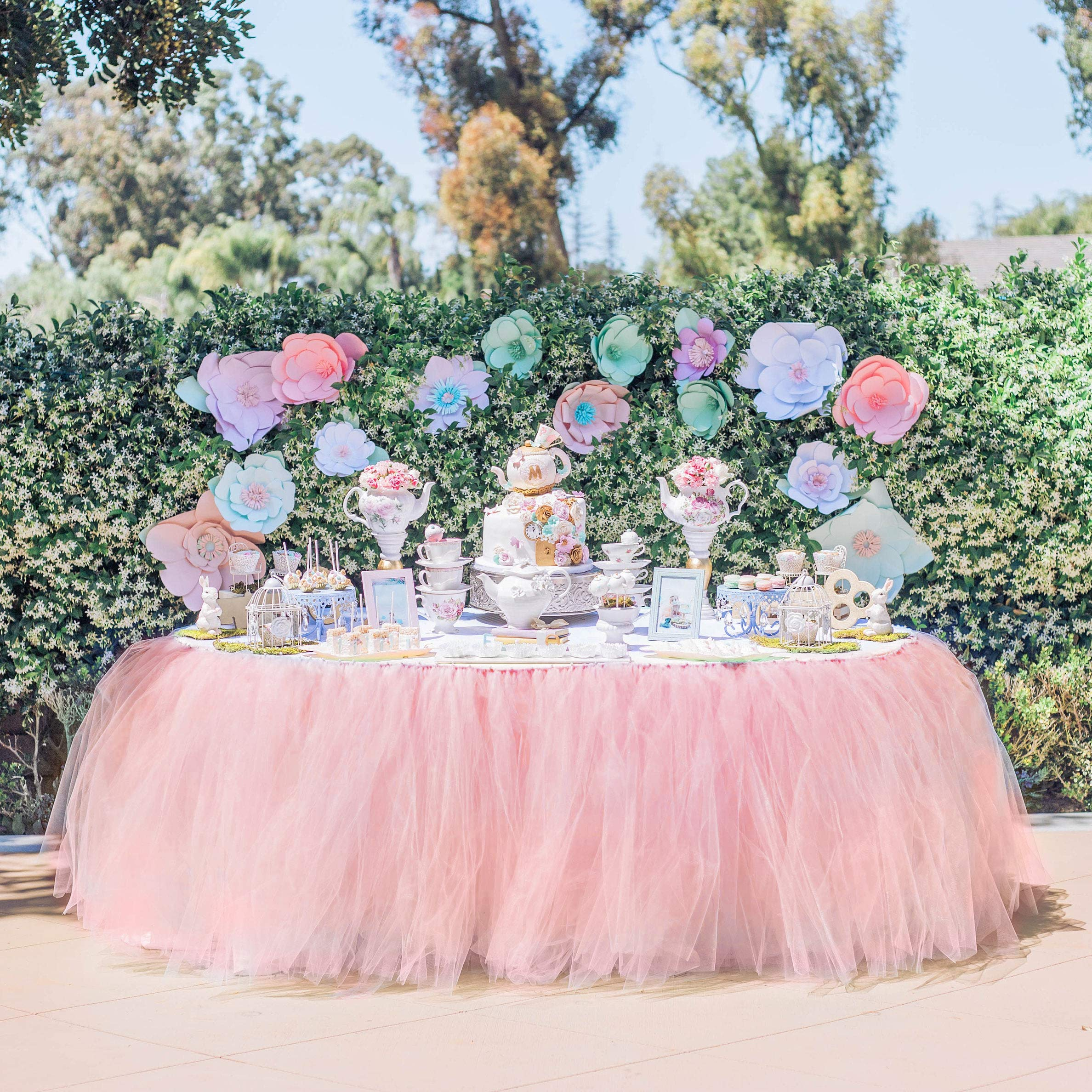 Tulle Table Skirt Tutu Table Skirts Wedding Tablecloth Birthday Baby Shower Party Table Skirting Table Decorations for Round Or Rectangle Tables 9ft (Pink, 9ft (L) x 30inch (H)) by Chic Chichi