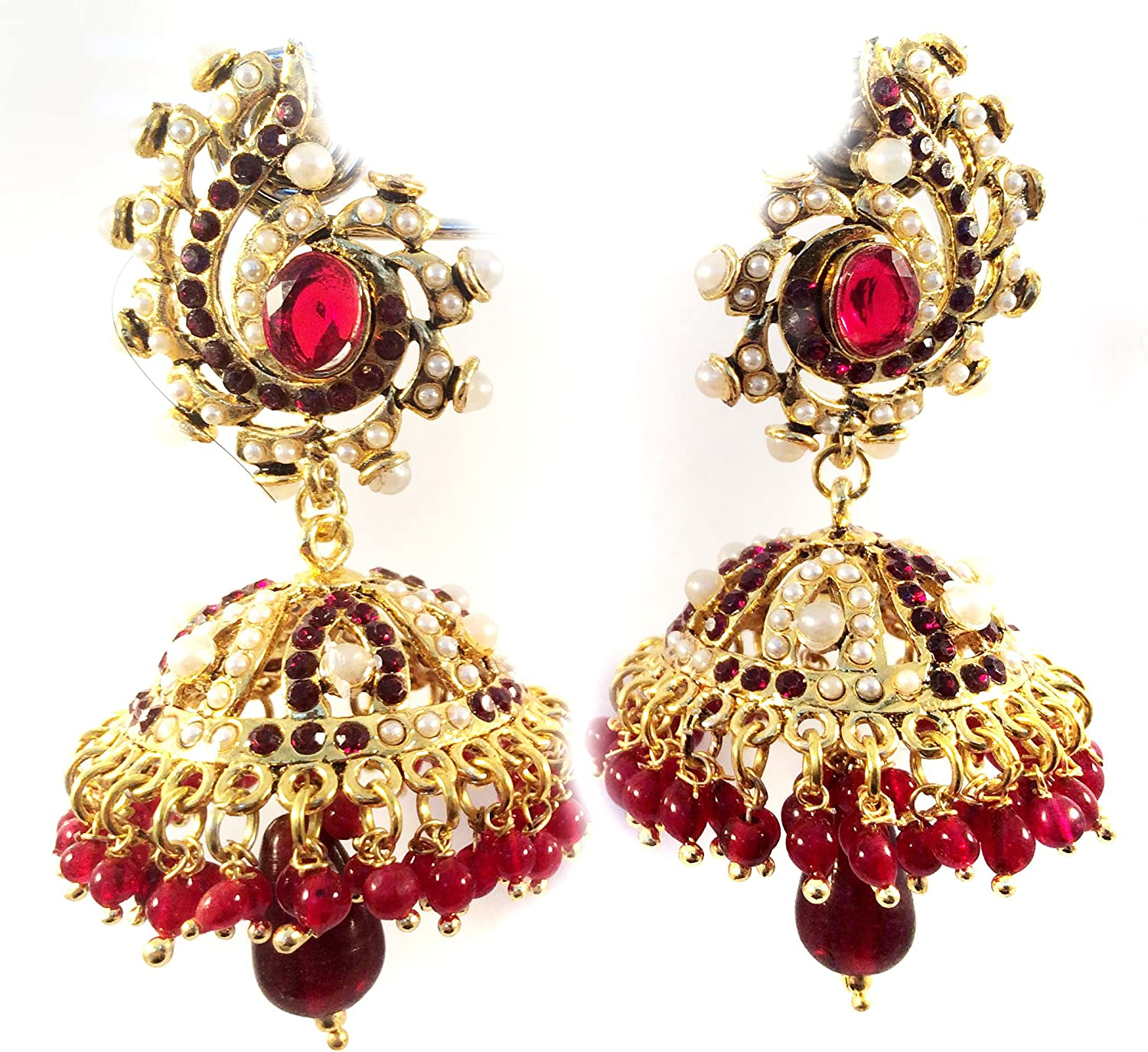 Amazon Com Gold Jhumka Earrings Ethnic Earrings Chandelier