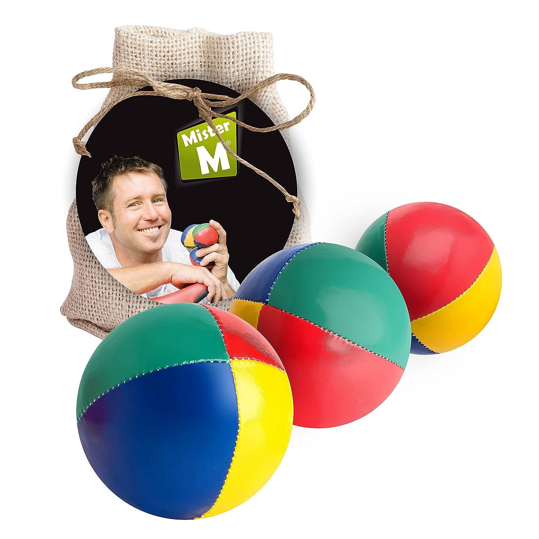 ✓ Palle da giocoleria ✓ Approvato CE ✓ il set complete da giocoliere composto da 3 palle con video tutorial online in sacco di juta beige - a cura di Mister M (Beige, 3 Palle)