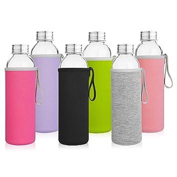 Cristal botellas de agua, 6 unidades Deluxe Set Martillo de - incluye 6 mangas. Tapas de acero inoxidable - Kombucha, zumo, té: Amazon.es: Hogar