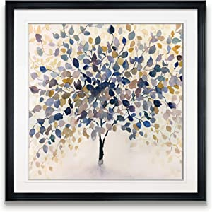 Renditions Gallery Past Autumn Mid Century Decor Painting Contemporary Art Framed Tree Pictures Floral Prints Giclee Modern Home, 22x22, Black