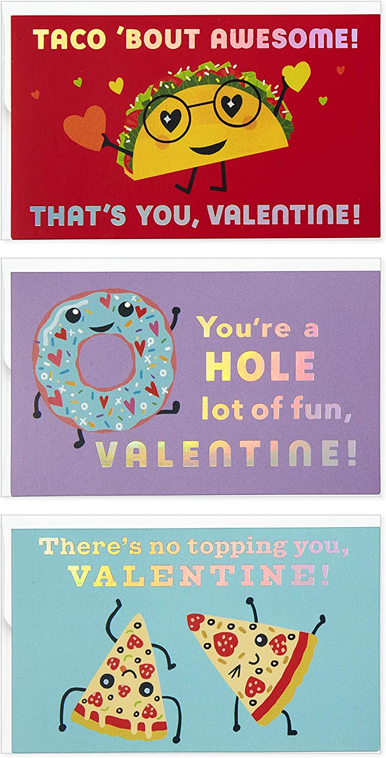 Hallmark Kids Mini Valentines Day Cards Assortment, 12 Cards with Envelopes (Tacos, Pizza, Doughnuts)