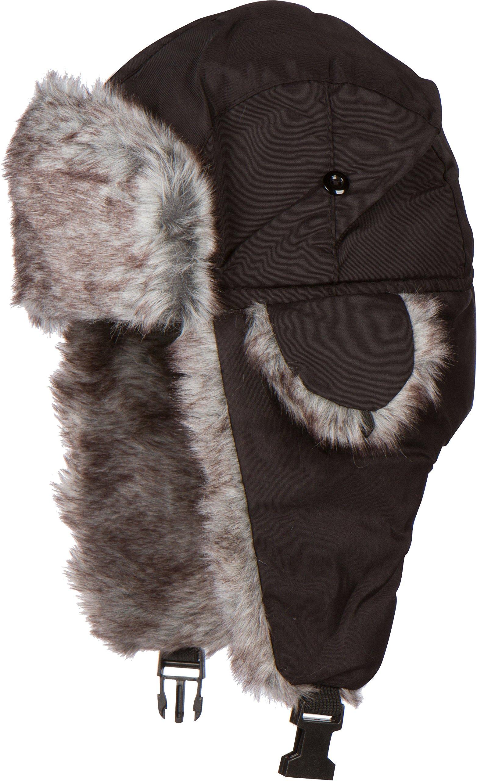 Sakkas Unisex Weatherproof Nylon Faux Fur Lined Winter Earflap  Trooper Aviator Hat