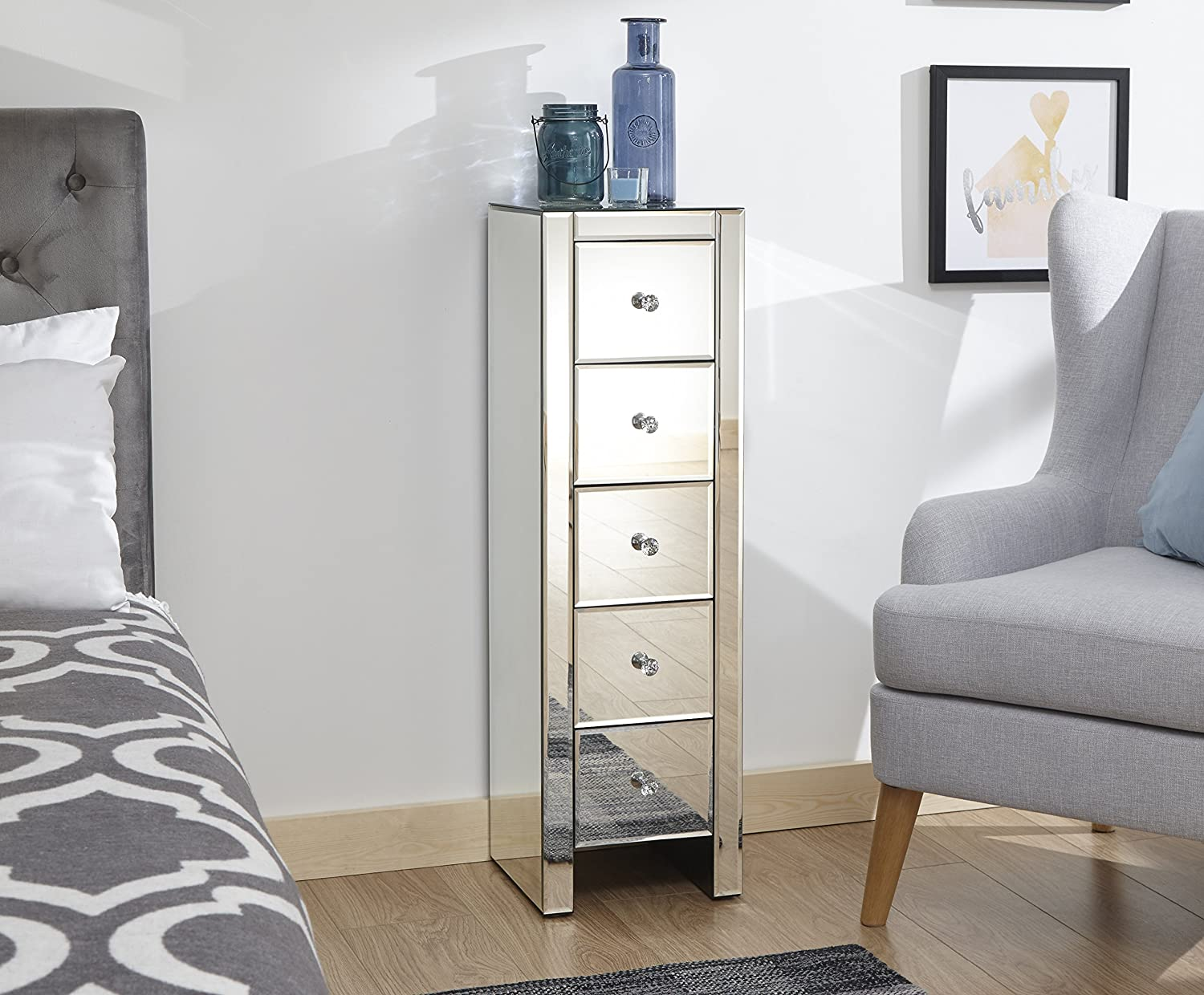 Diamante Handles GFW Furniture Mirrored 2 4 or 5 Clear Glass Slim Chest of Drawers 3