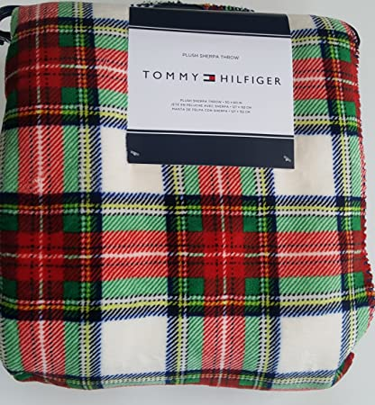7d55db47 Sherpa Throw Blanket by Tommy Hilfiger Plush Stewart Plaid Red Blue Green  Bedding