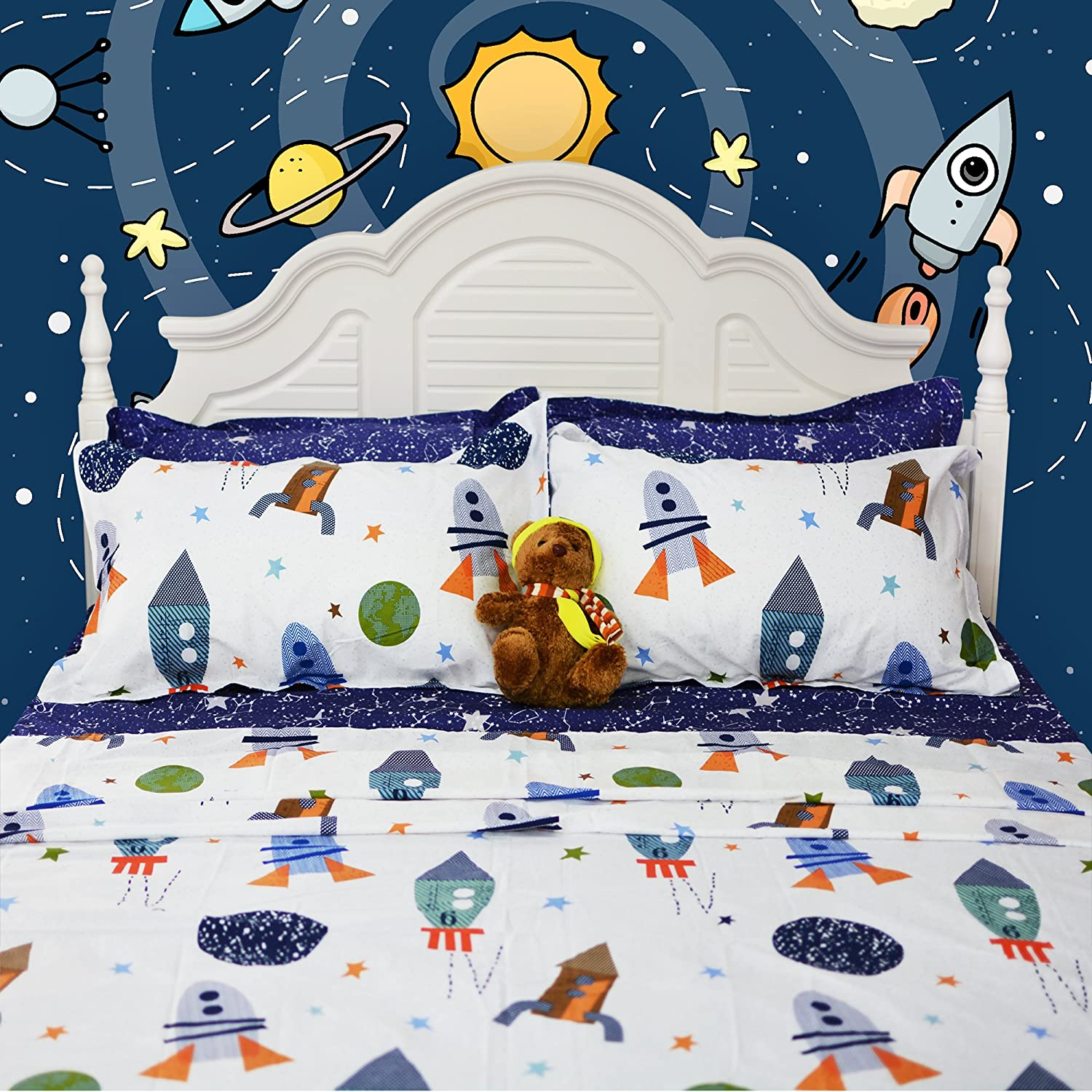 Brandream Space Bedding For Kids Boys Bedding Galaxy Bedding Sets Rockets Super Soft Bed Sheet Set Cotton Bed Sheets Sets