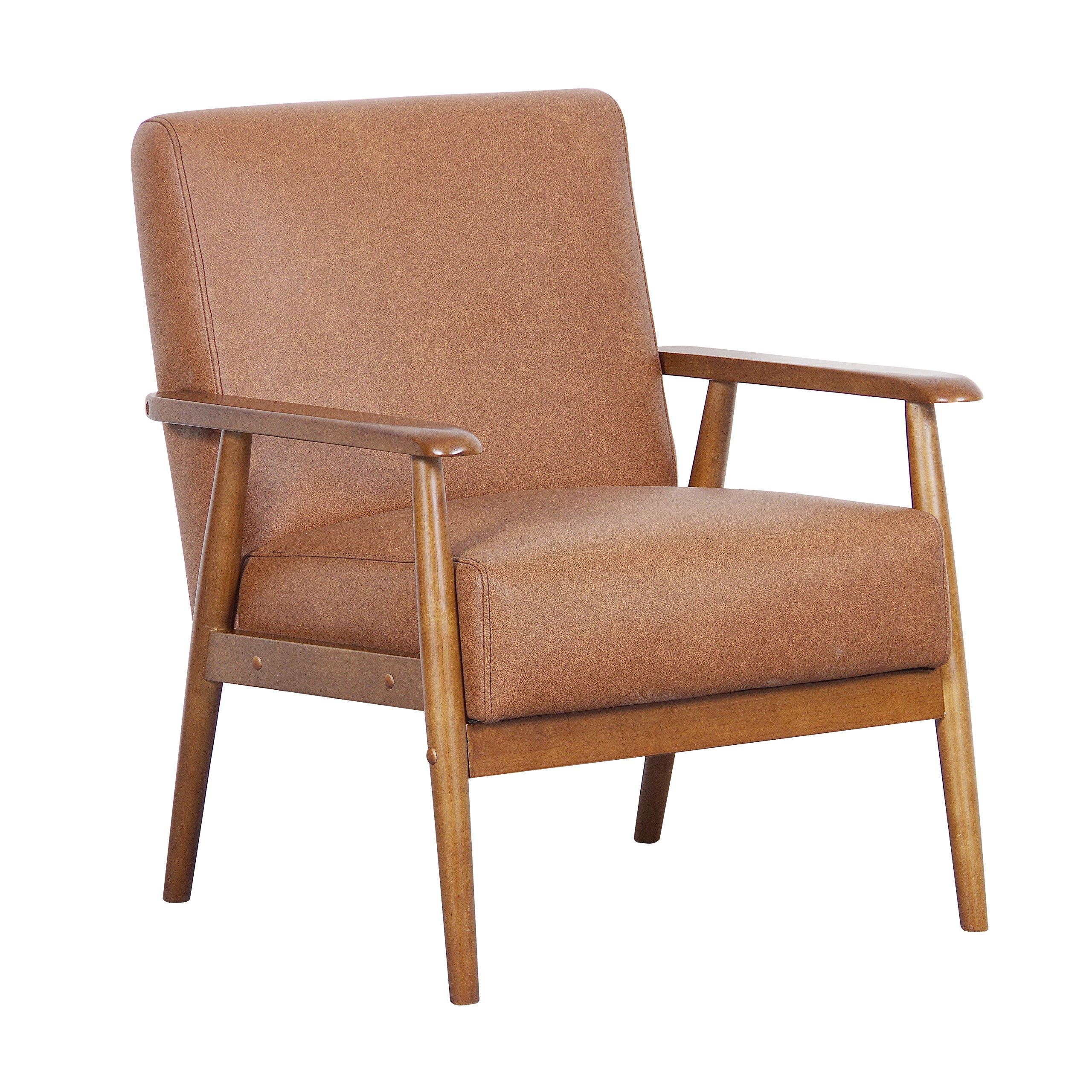 Pulaski DS-D030003-329 Wood Frame Faux Leather Accent Chair, 25.38'' x 28.0'' x 30.5'', Cognac Brown by Pulaski