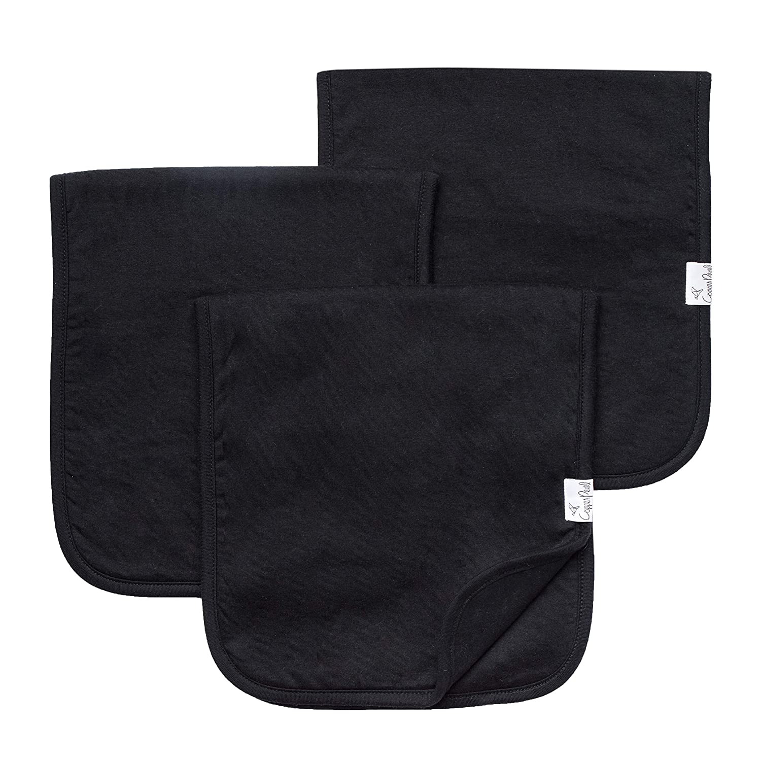 """Baby Burp Cloth Large 21x10 Size Premium Absorbent Triple Layer 3 Pack Gift Set /""""Black Basics/"""" by Copper Pearl"""
