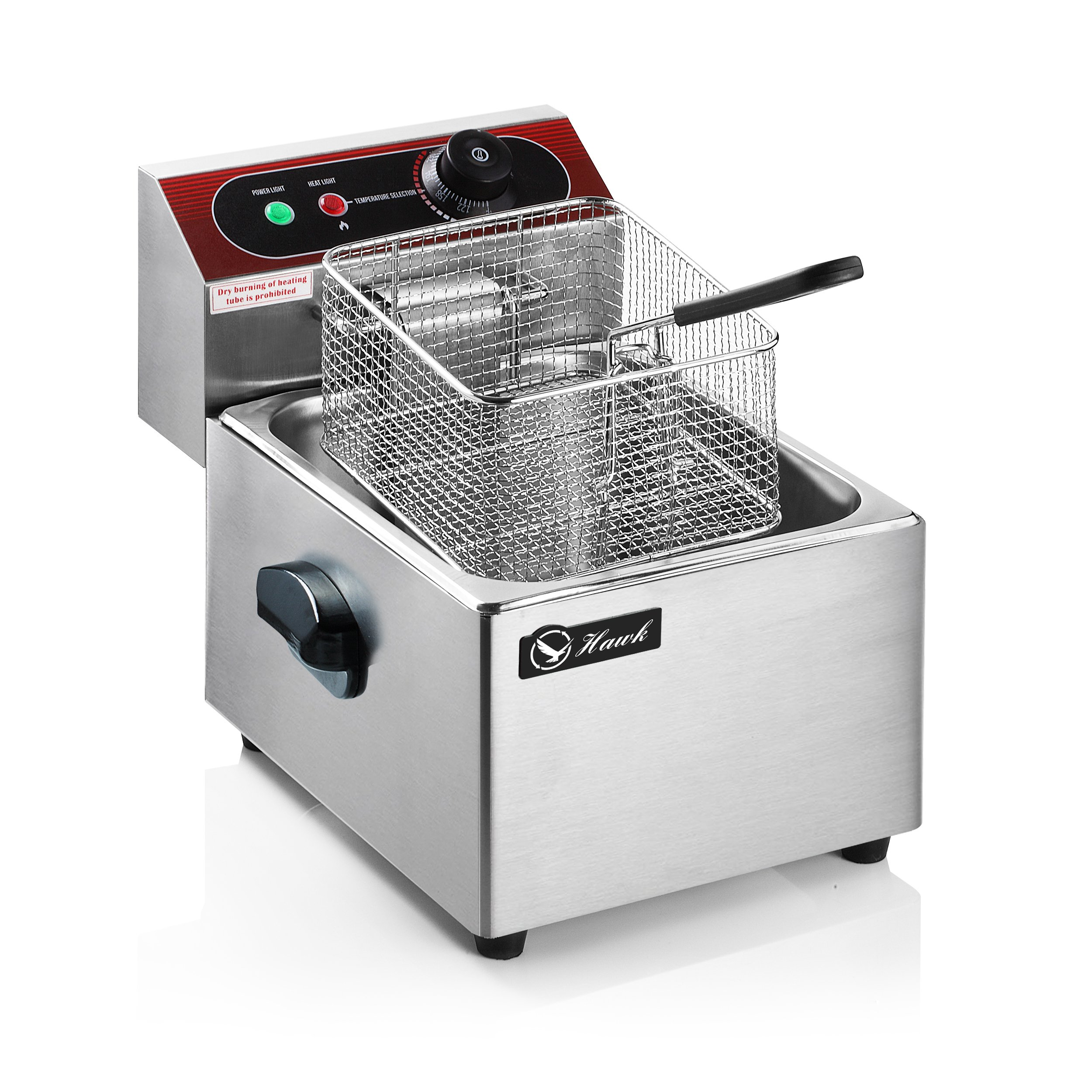 Professional 5.5L Electric Deep Fryer, Stainless Steel Chicken Chips Fryer with Basket Scoop for Commercial Restaurant Counter-top Family Food Cooking, Single Tank by Hawk (Image #1)