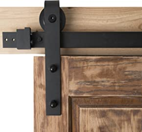 Barn Door Hardware 6.6ft Sliding Kit - Black Powder Coat, Bent Strap - Blacksmith Hardware BD1015 - Premium Quality