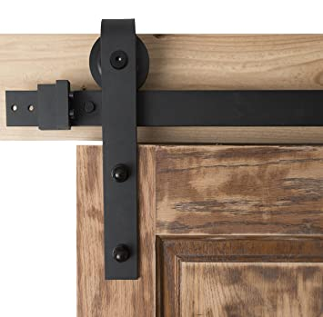 Barn Door Hardware 6ft Sliding Kit   Black Powder Coat, Bent Strap    Blacksmith Hardware