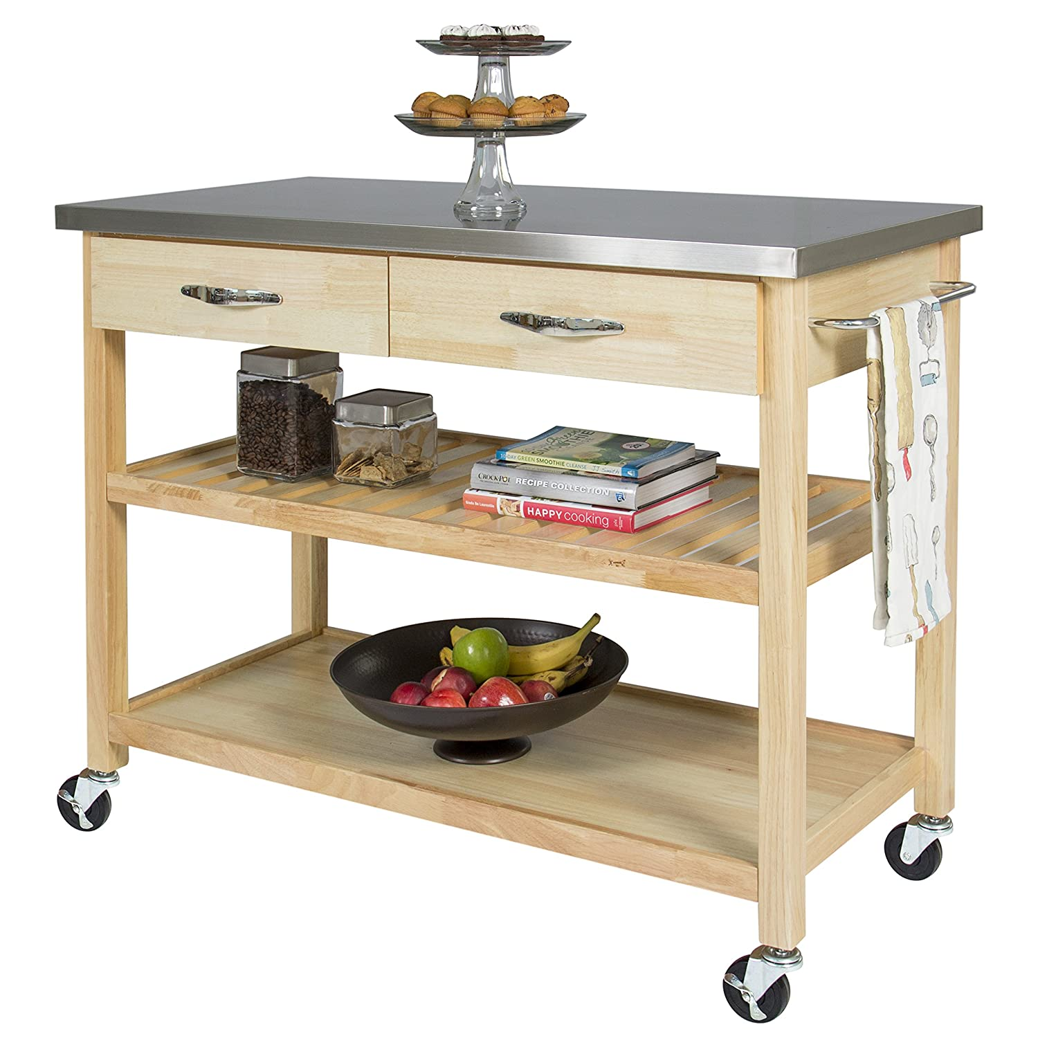 Amazon.com   Best Choice Products Natural Wood Mobile Kitchen Island  Utility Cart With Stainless Steel Top Restaurant   Kitchen Islands U0026 Carts