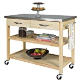Best Choice Products Natural Wood Mobile Kitchen Island Utility Cart with Stainless Steel Top Restaurant