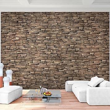 Fototapete Steinwand 3D Effekt Braun Vlies Wand Tapete Wohnzimmer ...