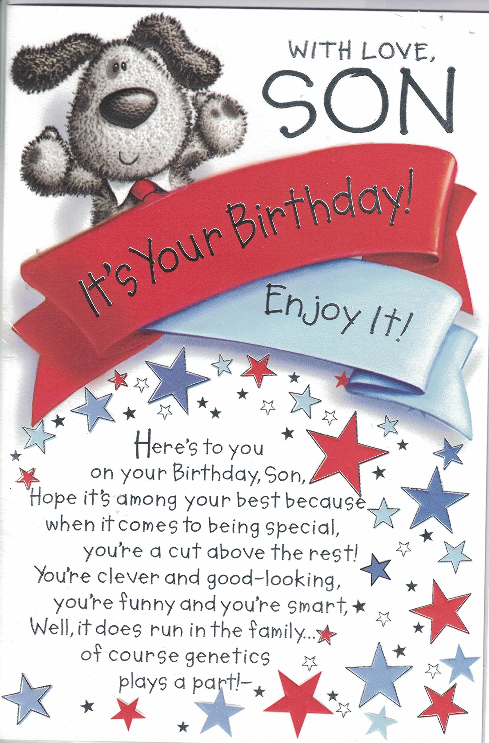 Special son birthday cards amazon son birthday card with love to our son on your birthday modern blue presents m4hsunfo