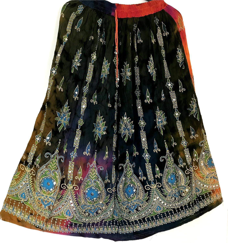 UK Seller Colourful Womans Ladies Indian Boho Hippie Gypsy Sequin Summer Sundress Maxi Belly Dance Skirt Dancers World Ltd