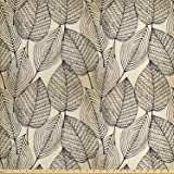 Ambesonne Beige Fabric by The Yard, Autumn Geometric Leaf Pattern Ornamental Foliage Design Abstract Line Arrangement, Decorative Fabric for Upholstery and Home Accents, 1 Yard, Beige Black