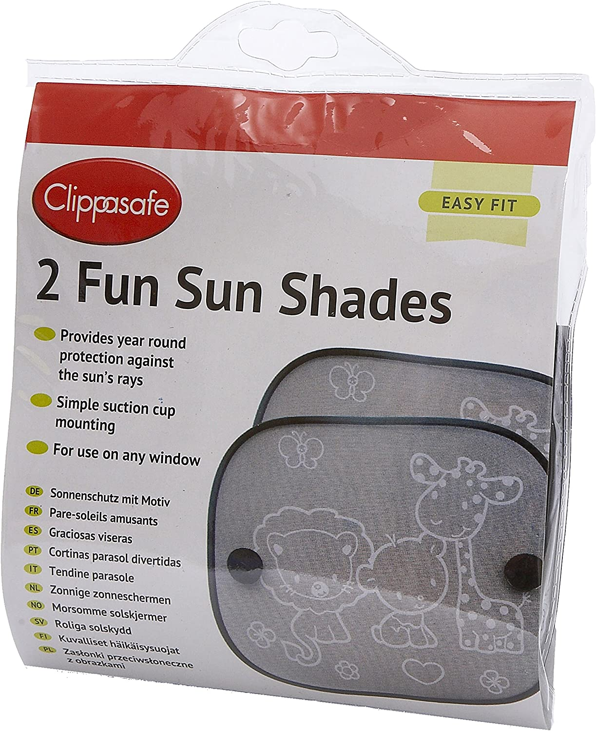 Clippasafe Fun Sun Screens Black and White, 2 - Pack