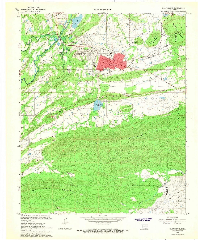 Topographic Map Oklahoma.Amazon Com Oklahoma Maps 1967 Hartshorne Ok Usgs Historical