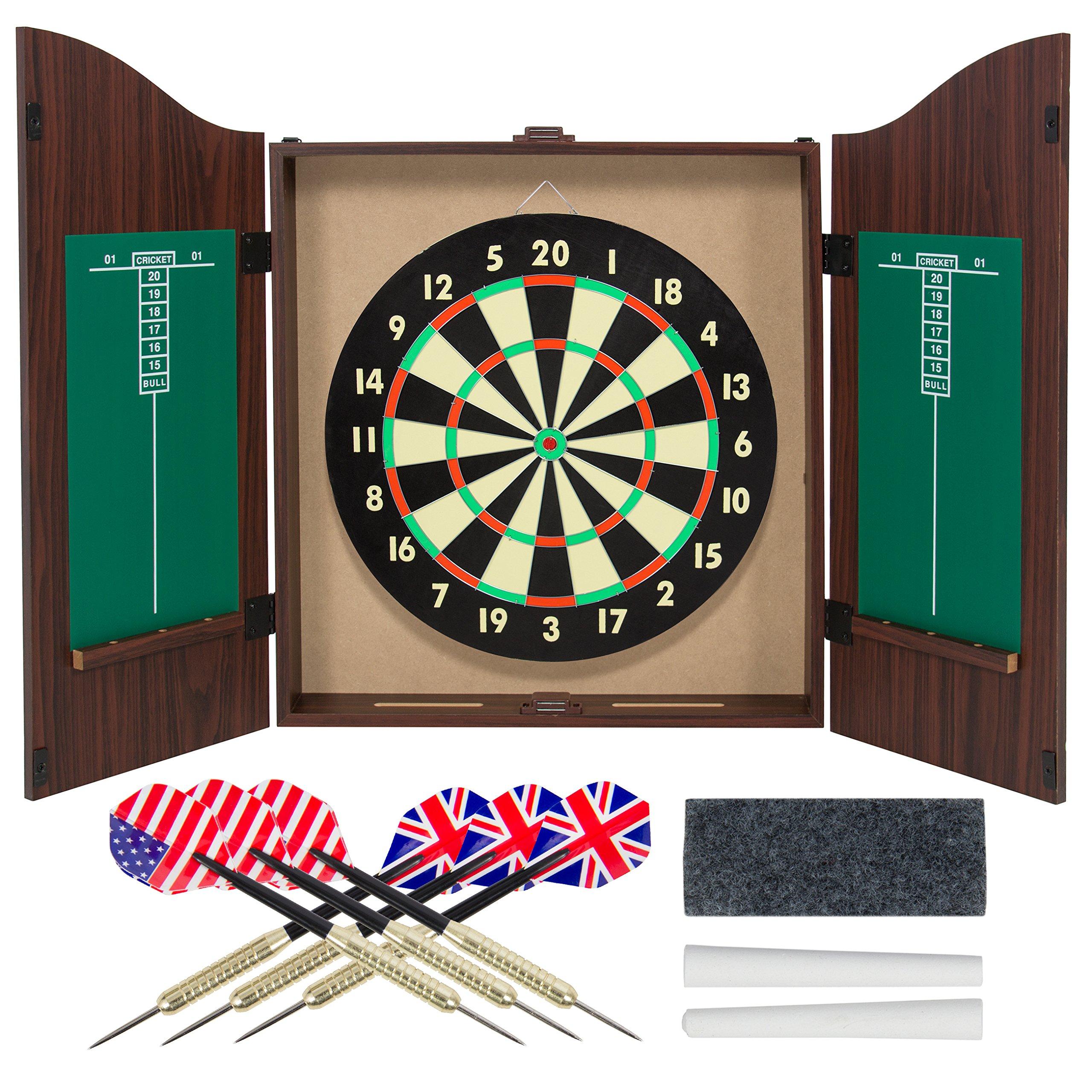 Gameroom Dartboard Cabinet Set with Realistic Walnut Finish