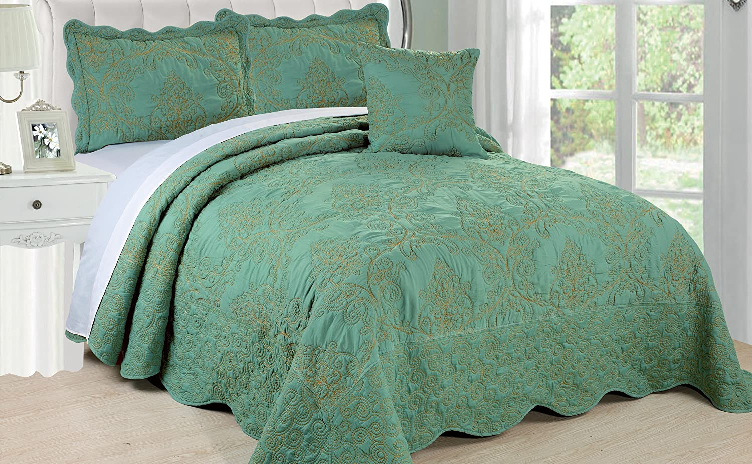 Serenta Damask 4 Piece Bedspread Set, Queen, Teal by Home Soft Things B0131P5VAY クイーン|ティール ティール クイーン