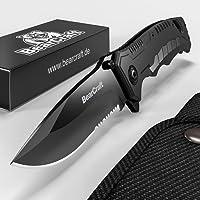 BearCraft Klappmesser schwarz | Scharfes Outdoor Survival Taschenmesser mit Wellenschliff | Kleines Einhand-Messer mit Edelstahlklinge und Aluminiumgehäuse | Einsetzbar für Arbeit Wandern Camping