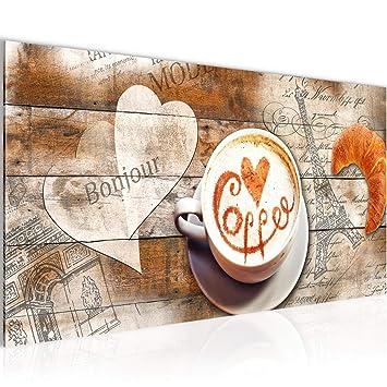 Bilder Kaffee Küche Wandbild Vlies - Leinwand Bild XXL Format Wandbilder  Wohnzimmer Wohnung Deko Kunstdrucke Braun 1 Teilig - MADE IN GERMANY -  Fertig ...