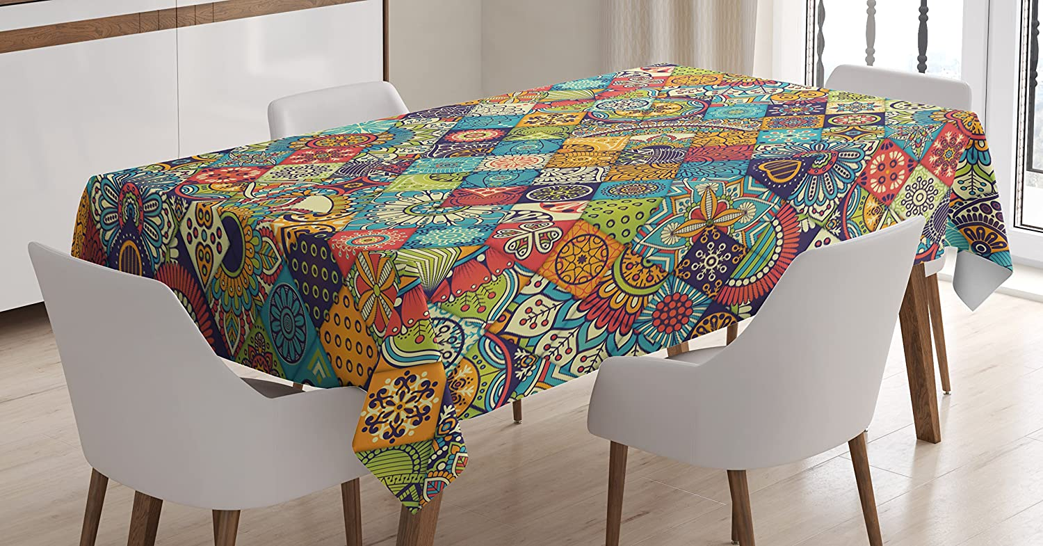 Ambesonne Bohemian Tablecloth, Geometric Pattern with Ornamental Floral Folk Art Abstract, Rectangular Table Cover for Dining Room Kitchen Decor, 52