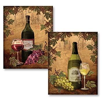 Amazoncom Gango Home Décor 2 Vintage Tuscan White And Red Wine