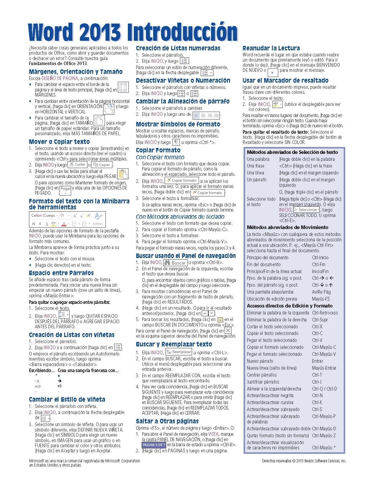 Microsoft Word 2013 Introducción Guía de referencia rápida (Hoja de ...