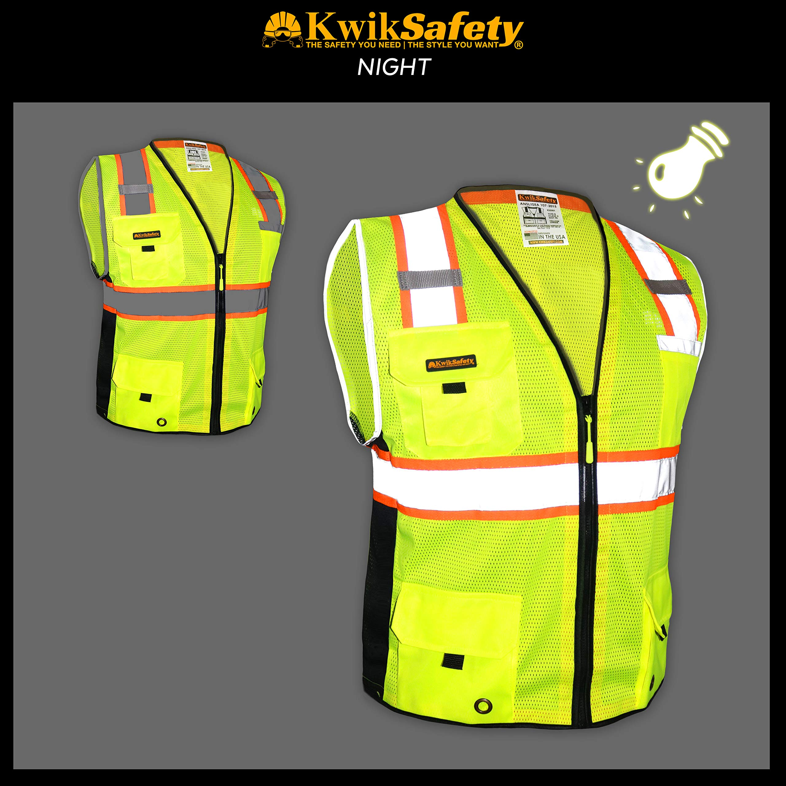 KwikSafety (Charlotte, NC) BIG KAHUNA (11 Pockets) Class 2 ANSI High Visibility Reflective Safety Vest Heavy Duty Mesh with Zipper and HiVis for OSHA Construction Work HiViz Men Yellow Black Small by KwikSafety (Image #3)