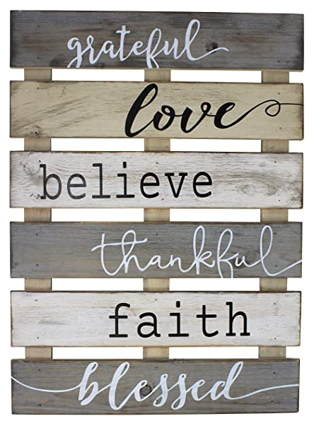 Vintage Rustic Wall Home Decor Sign For Kitchen Living Room Dining Room Bedroom Or Bathroom Grateful Love Believe Thankful Faith Blessed Wood