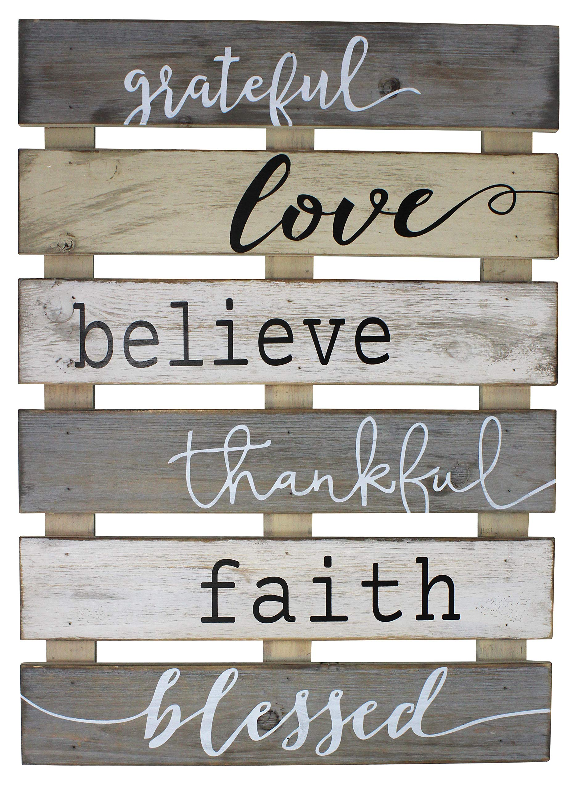 Vintage Rustic Wall Home Decor Sign for Kitchen, Living Room, Dining Room, Bedroom or Bathroom - Grateful Love Believe Thankful Faith Blessed Wood Pallet Skid Barnwood Color Decorative Wall Plaque