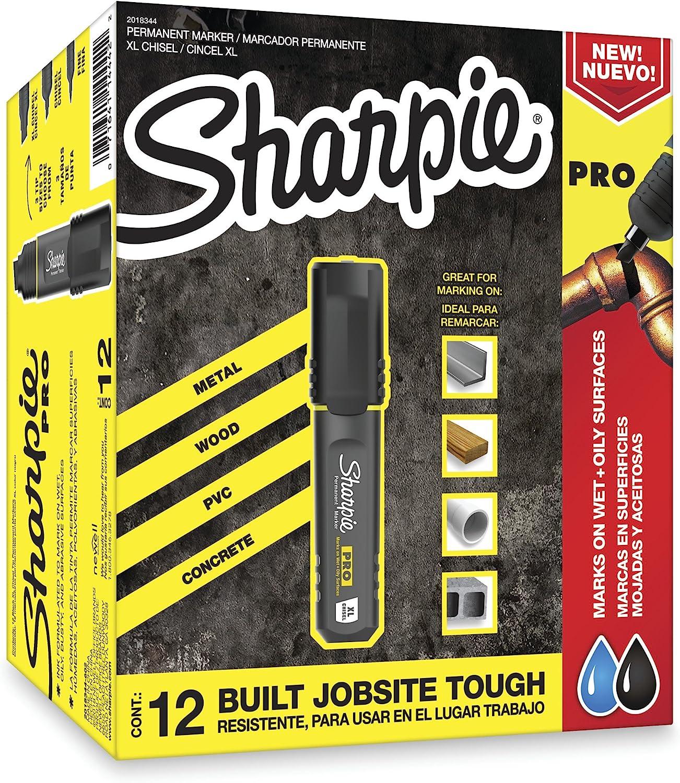 12-Count Sharpie Pro King Size Magunm Permanent Marker Chisel Tip Black Marke