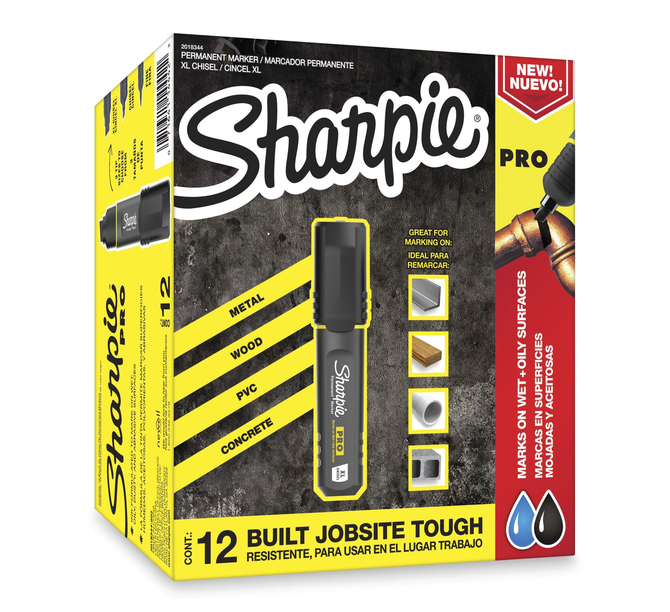 Sharpie Pro Permanent Marker, Medium, Chisel Tip, Black, 12-Count Marker (2018326) by SHARPIE