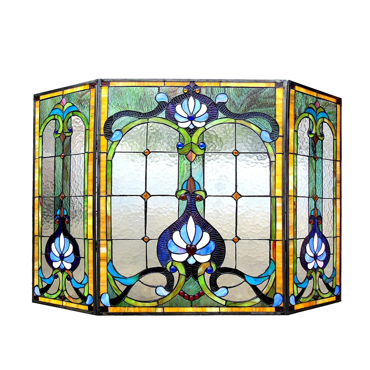 amazon com chloe lighting tiffany glass 3pcs folding victorian