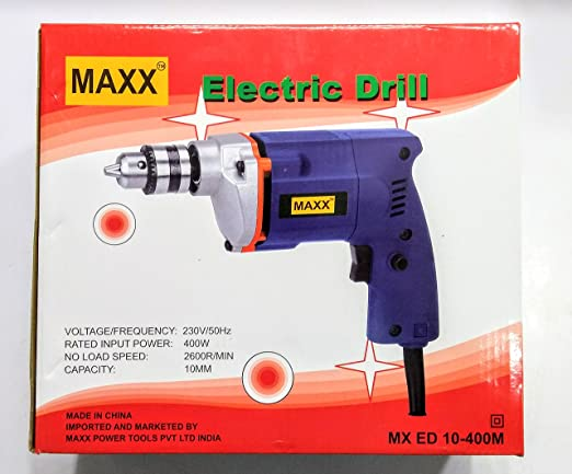 Electrical Power Maxx 400W 10mm High Power Drill Machine Blue Drilling