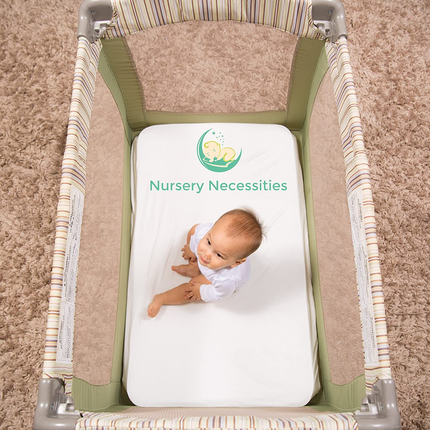 Superior to Cotton Hypoallergenic 100/% Organic Bamboo Pack N Play Sheet Silky Soft by Nursery Necessities Antibacterial