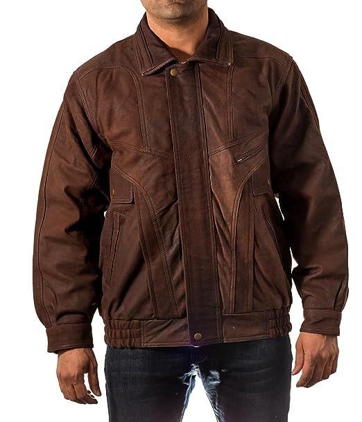 Para hombre real italiana marr-n cl‡sico Bombardero de chaqueta retro blusa de cuero ocasional del: Amazon.es: Ropa y accesorios