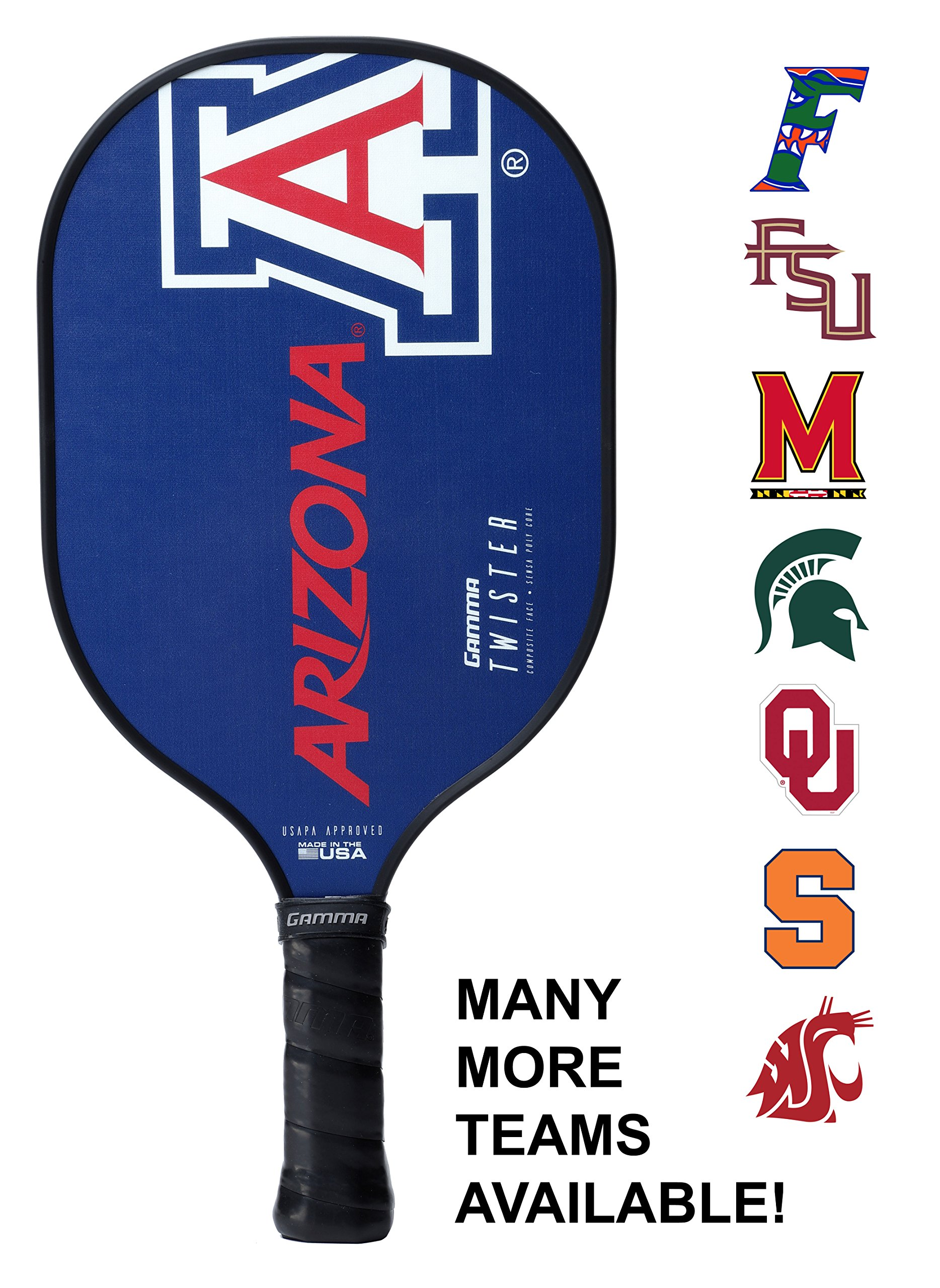 Gamma Collegiate Twister Composite Pickleball Paddle: Pickle Ball Paddles for Indoor & Outdoor Play - USAPA Approved Racquet for Adults & Kids - Arizona Wildcats