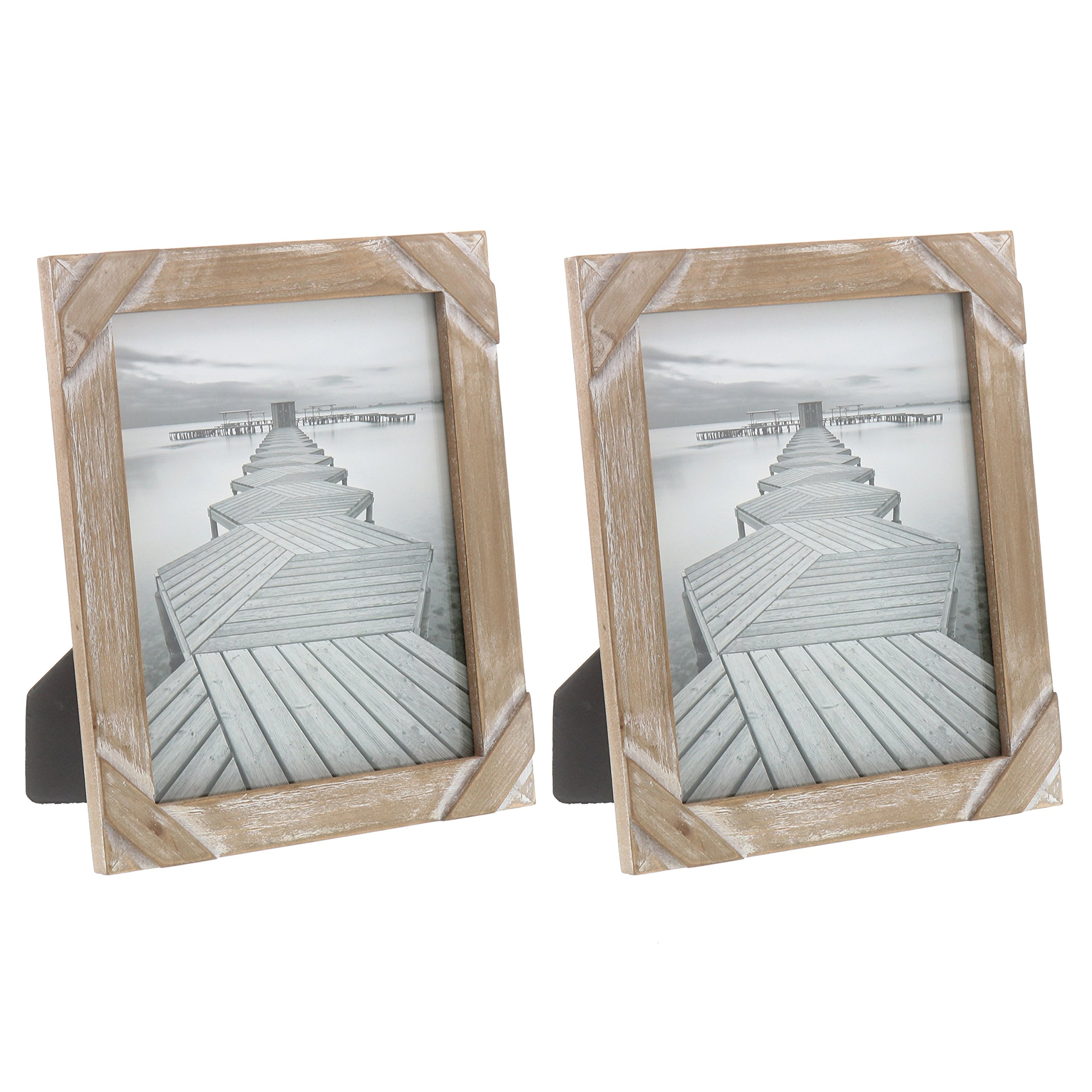 """Barnyard Designs Rustic Farmhouse Distressed Picture Frame 8"""" x 10'' Wood Photo Frame (2-Pack)"""