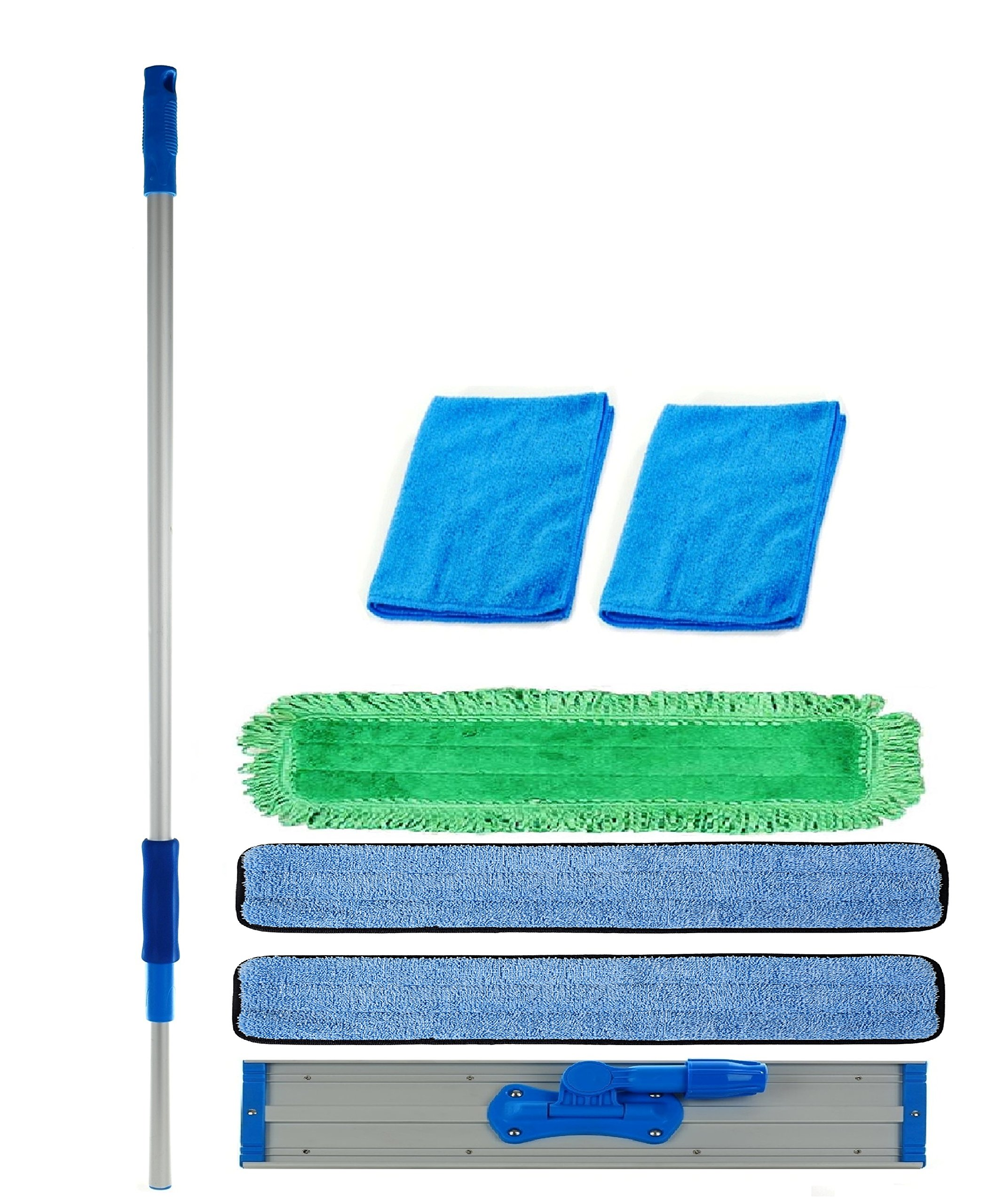 Real Clean 48 inch Professional Commercial Microfiber Mop With Three 48'' Microfiber Mop Pads and 2 Bonus Microfiber Towels