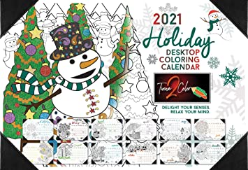 Calendar Christmas Winter December 2021 Amazon Com Time2color 2021 Christmas Edition Holiday Desk Blotter Coloring Calendar January To December 13 X 19 Office Products