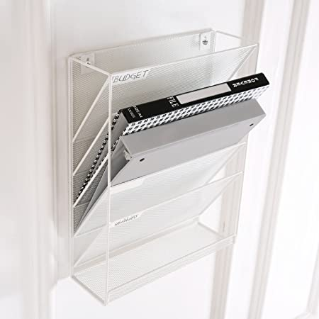 Amazon.com: Wall-Mounted Magazine Rack, 5 Slot Hanging Document Filing System, White: Office Products