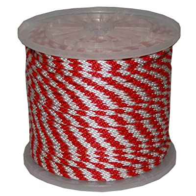 T.W . Evans Cordage 98325 3/8-Inch by 100-Feet Solid Braid Propylene Multifilament Derby Rope, Red and White