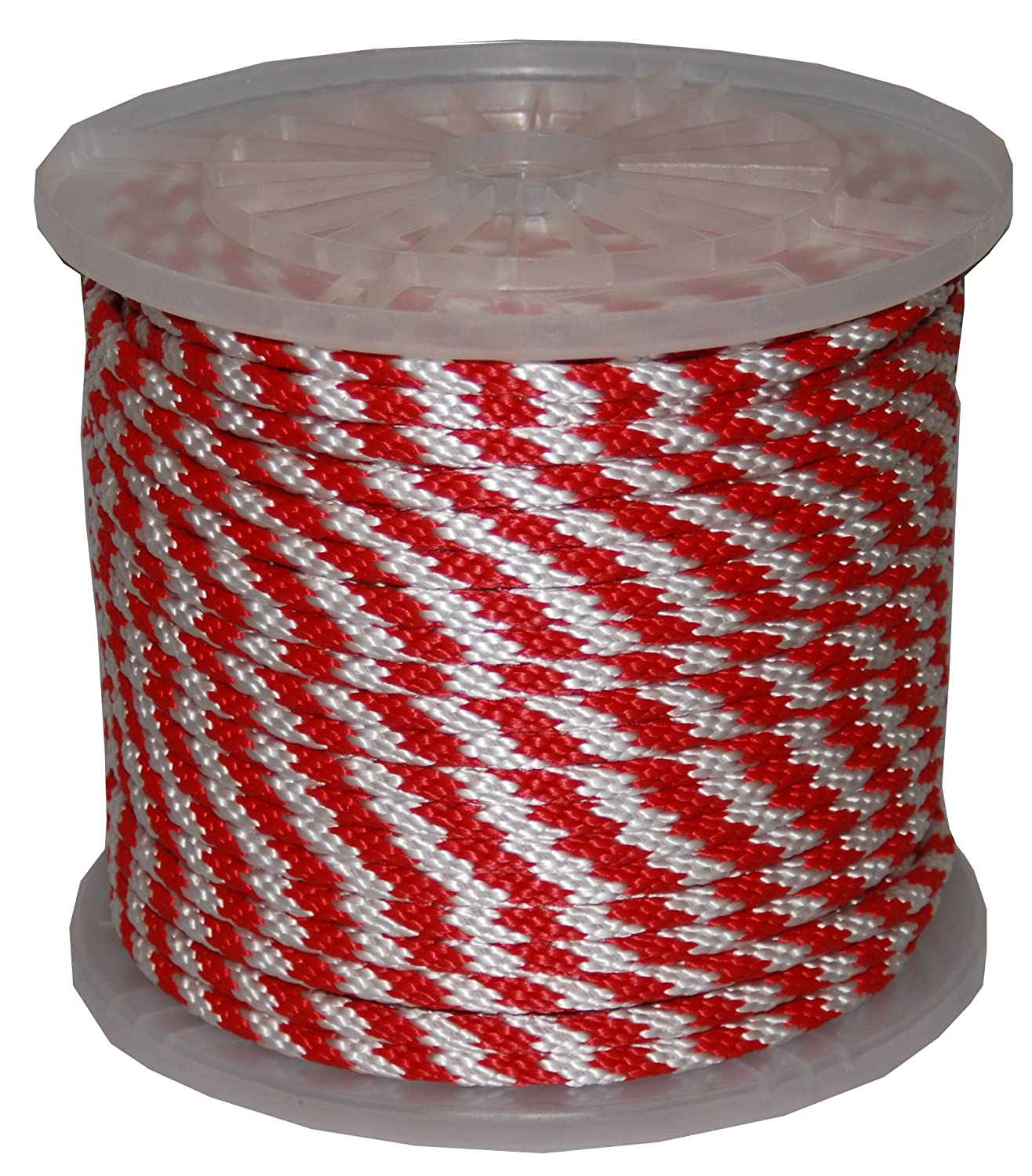 T.W . Evans Cordage 98011 5/8-Inch by 200-Feet Solid Braid Propylene Multifilament Derby Rope, Red and White [並行輸入品]  B00DKA35TA