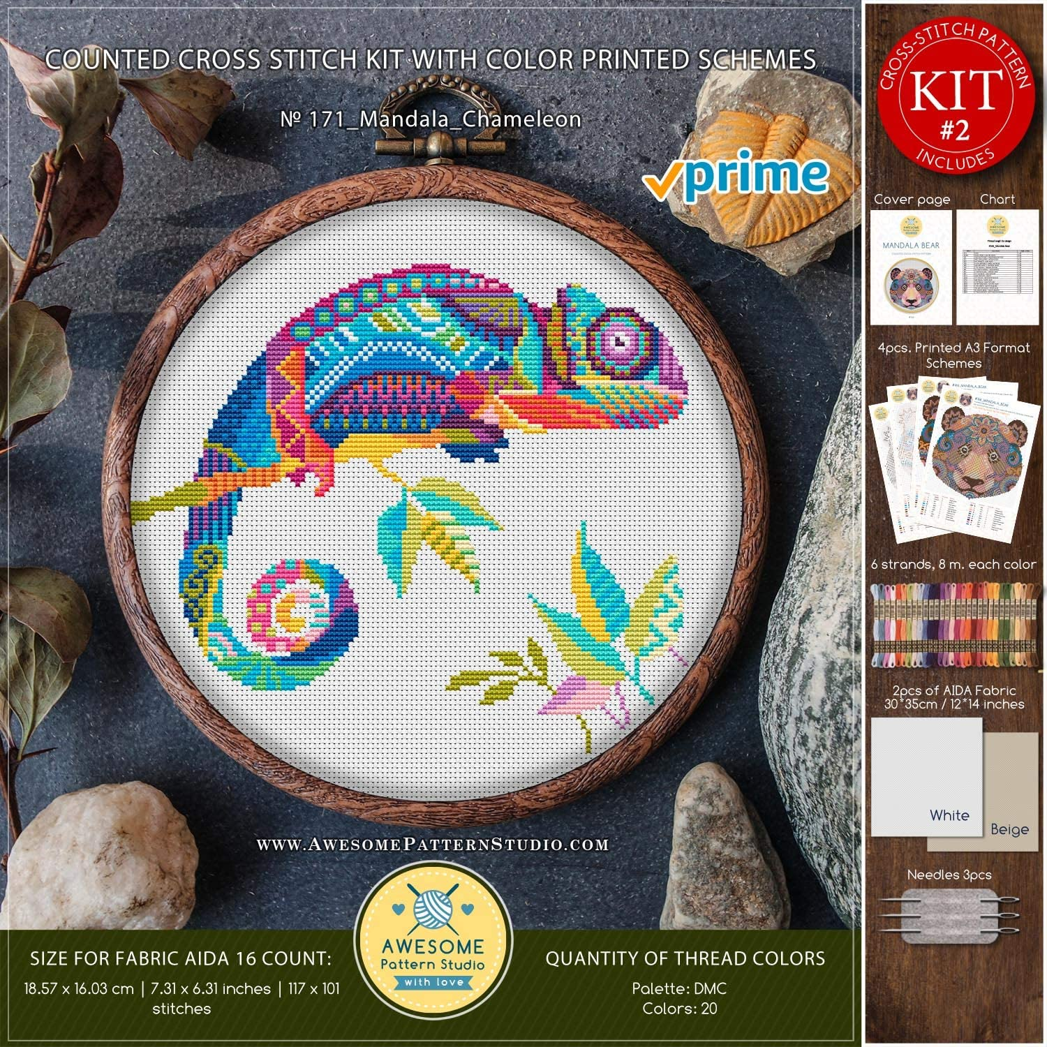 Mandala Chameleon K171 Counted Cross Stitch KIT#2 Needles Threads Fabrick and 4 Printed Color Schemes Inside Embroidery Pattern Kit