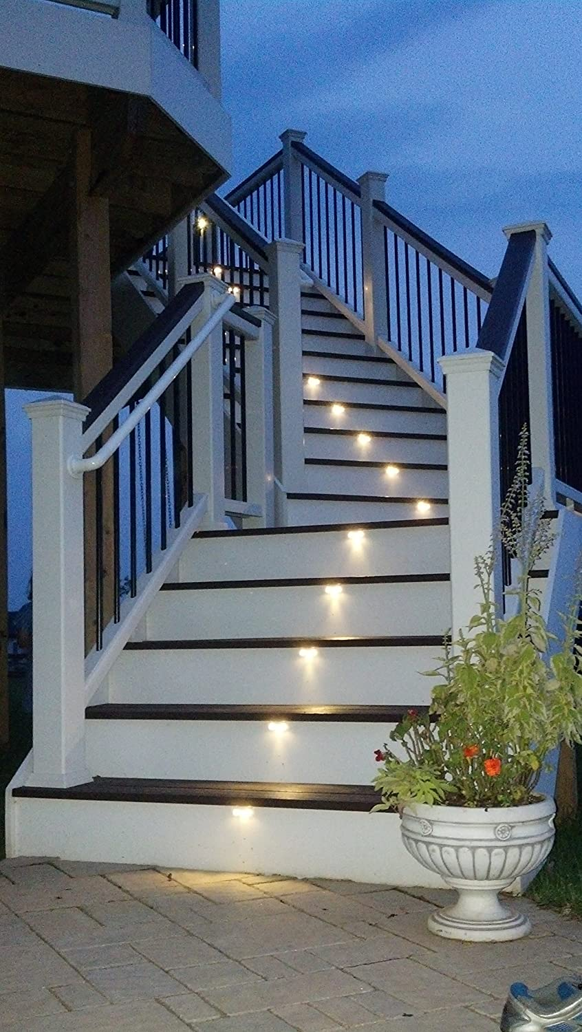 Black i-lighting SL 532 NB CW Modern Outdoor Stair Light Kit with Clear LED