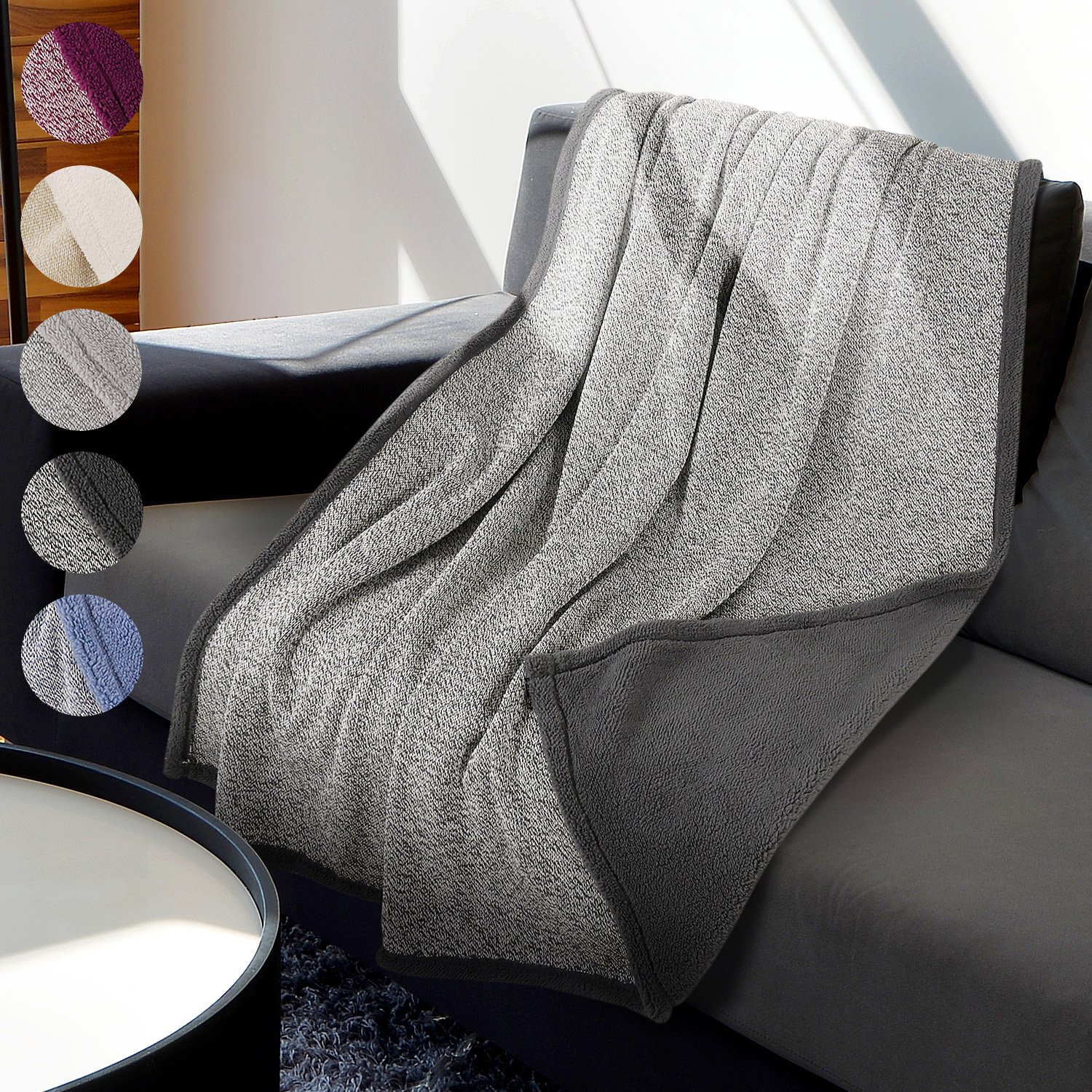 Sherpa Throw Blanket Super Soft Cozy with Plush Fleece for Coach and Bed | Size 50''x 60'' Reversible Warm Knitted Blanket for All Season Dark Grey